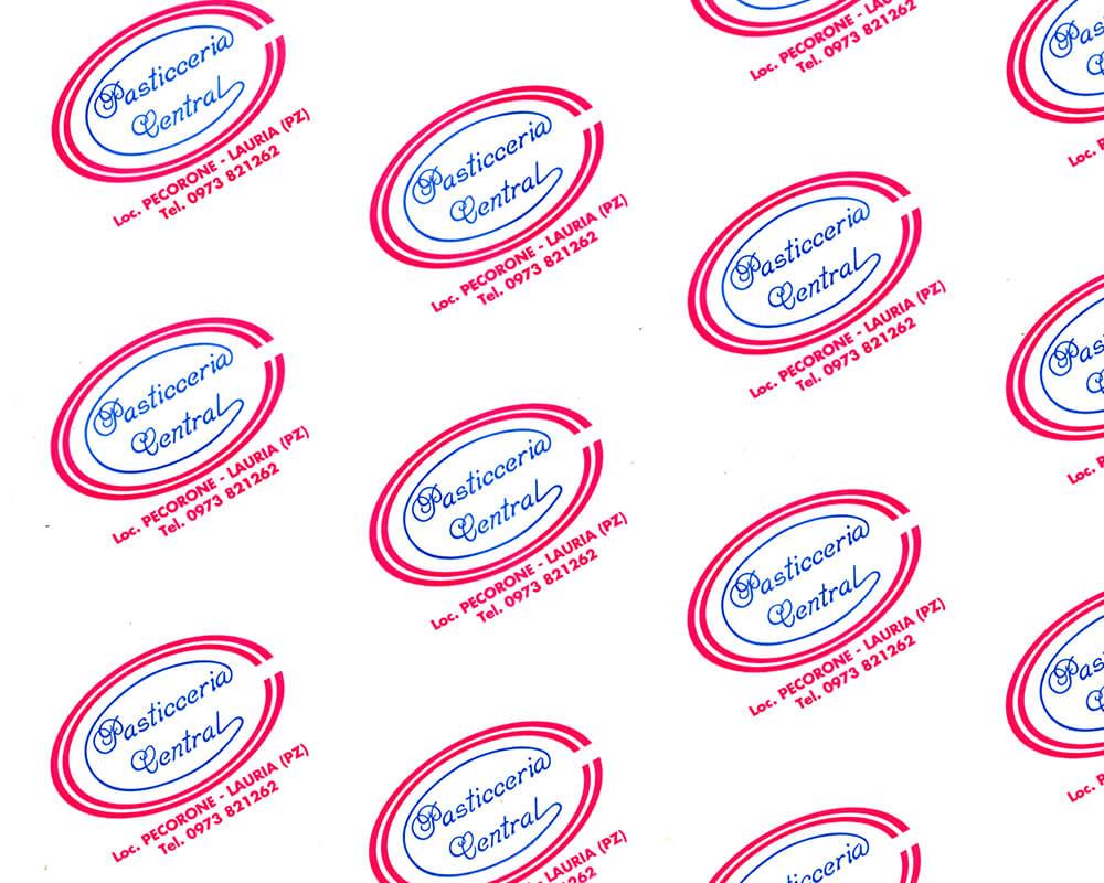 carta pergamino - carta pergamino personalizzata con logo Pasticceria Centrale